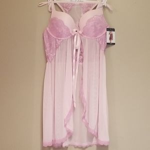 🆕️Lavender floral lace babydoll and g string s